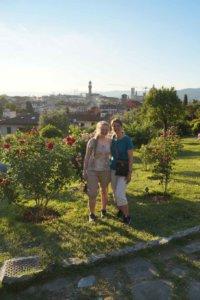 two women in field in florence