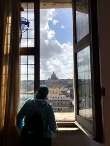 Student looking out over Rome