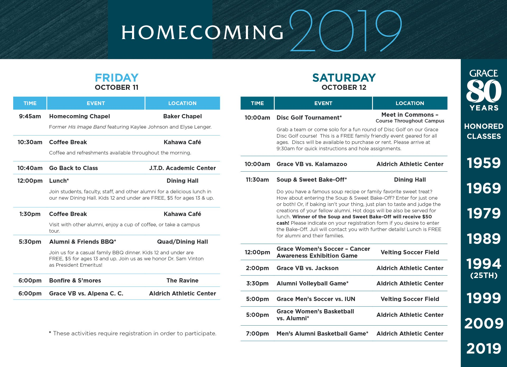 Homecoming Schedule of Events