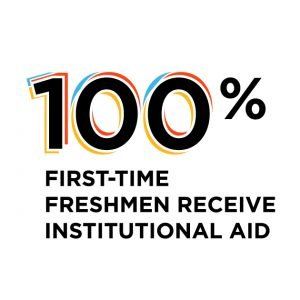 100% first time freshmen receive institutional aid